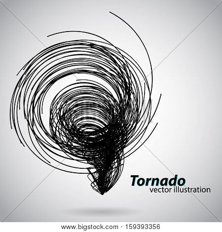 Tornado from curves and spirals. Vector illustration. Text and background on a separate layer, color can be changed in one click.