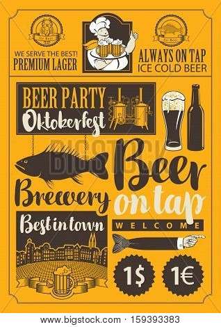 set of vector objects and inscriptions on beer theme for the design of the pub and brewery