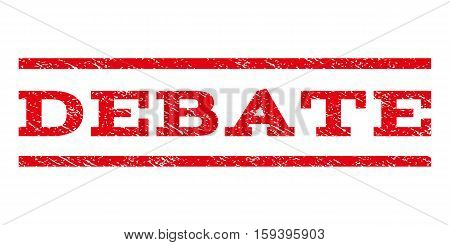 Debate watermark stamp. Text tag between horizontal parallel lines with grunge design style. Rubber seal red stamp with unclean texture. Vector ink imprint on a white background.