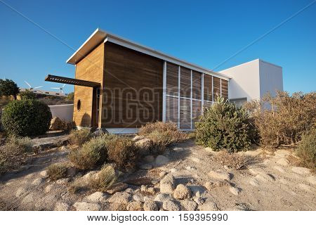 TENERIFE SPAIN - AUGUST 15: Bioclimatic Houses in the South of the island of Tenerife on August 15 2016. Has been conceived as a laboratory of different bioclimatic techniques and for the integration of renewable energy sources applied to architecture.