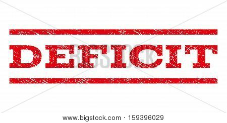 Deficit watermark stamp. Text caption between horizontal parallel lines with grunge design style. Rubber seal red stamp with dirty texture. Vector ink imprint on a white background.