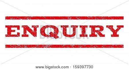 Enquiry watermark stamp. Text tag between horizontal parallel lines with grunge design style. Rubber seal red stamp with dirty texture. Vector ink imprint on a white background.