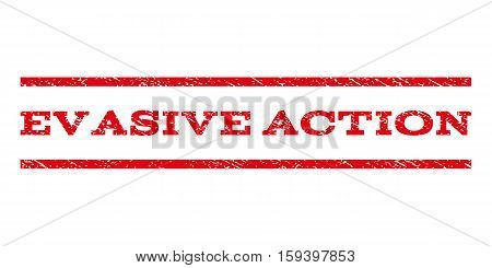 Evasive Action watermark stamp. Text caption between horizontal parallel lines with grunge design style. Rubber seal red stamp with scratched texture. Vector ink imprint on a white background.
