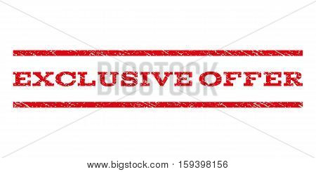 Exclusive Offer watermark stamp. Text caption between horizontal parallel lines with grunge design style. Rubber seal red stamp with dust texture. Vector ink imprint on a white background.