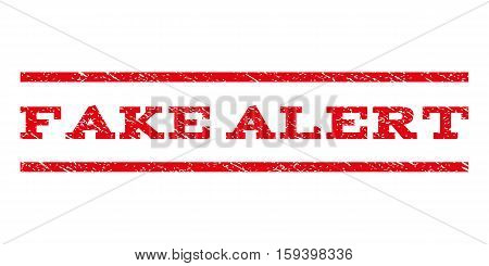 Fake Alert watermark stamp. Text tag between horizontal parallel lines with grunge design style. Rubber seal red stamp with scratched texture. Vector ink imprint on a white background.
