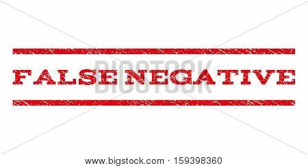 False Negative watermark stamp. Text caption between horizontal parallel lines with grunge design style. Rubber seal red stamp with unclean texture. Vector ink imprint on a white background.