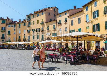 Piazza Del Anfiteatro In Lucca, Tuscany, Italy