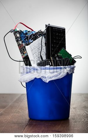 Close-up Of Damaged Hardware Equipment In Dustbin