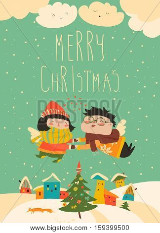 Stylish Christmas card in vector. Cute couple of angels flying above the houses