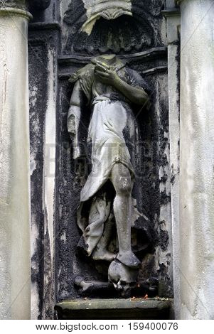 Old Gravestone in Greyfriars Kirk, Edinburgh, Scotland