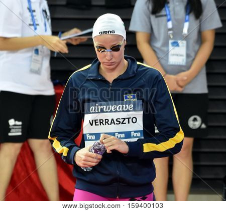 Hong Kong China - Oct 29 2016. Olympian swimmer Evelyn VERRASZTO (HUN) at the start in Women's Freestyle 200m Final. FINA Swimming World Cup Finals Victoria Park Swimming Pool.