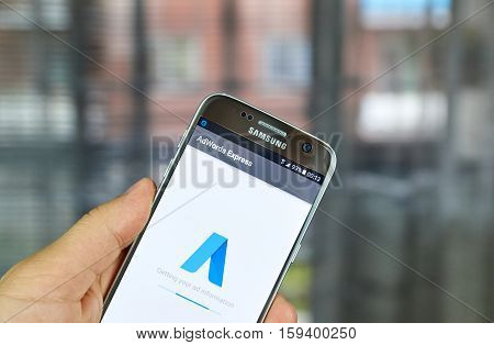MONTREAL CANADA - JUNE 23 2016 : Google Adwords Express application on Samsung S7 screen. AdWords Express helps to reach new customers on Google.