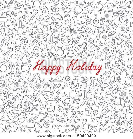 Christmas Icons Seamless Pattern. Happy Winter Holiday Wallpaper. Doodle Winer Holiday Greeting Card with handwritten Lettering HAPPY HOLIDAY