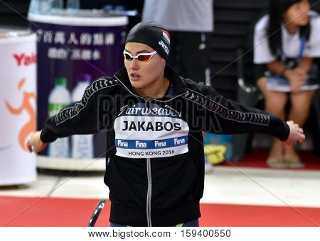 Hong Kong China - Oct 29 2016. Olympian swimmer Zsuzsanna JAKABOS (HUN) at the start in Women's Freestyle 200m Final. FINA Swimming World Cup Finals Victoria Park Swimming Pool.
