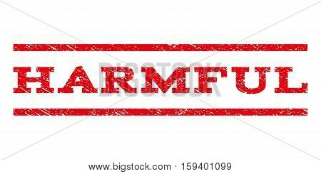Harmful watermark stamp. Text tag between horizontal parallel lines with grunge design style. Rubber seal red stamp with dust texture. Vector ink imprint on a white background.