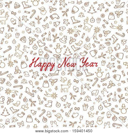 Christmas Icons Seamless Pattern. Happy Winter Holiday Wallpaper. Doodle Winer Holiday Greeting Card with handwritten Lettering HAPPY NEW YEAR