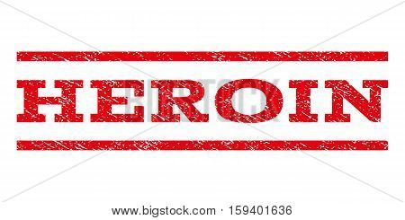 Heroin watermark stamp. Text tag between horizontal parallel lines with grunge design style. Rubber seal red stamp with scratched texture. Vector ink imprint on a white background.