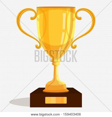 Gold trophy cup. Shiny Isometric illustration of golden winner trophy. vector