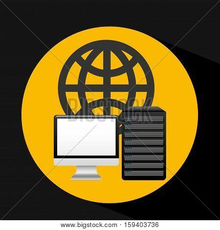 pc data base globe arrow vector illustration eps 10