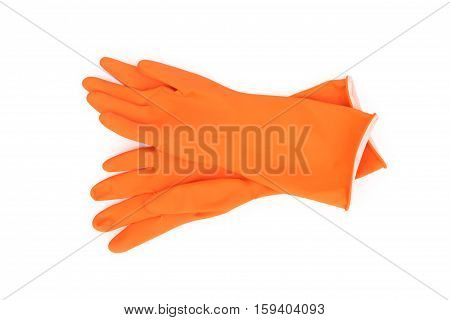 Orange color rubber gloves for cleaning on white background workhouse concept