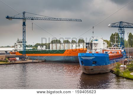 New Inland Navigation Ships In A Harbor