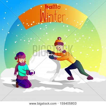 Cartoon characters vector illustration. Merry christmas hallo winter. boy and girl.