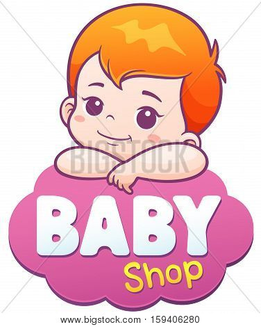 Vector Illustration of Cartoon Cute Baby. Baby shop logo concept