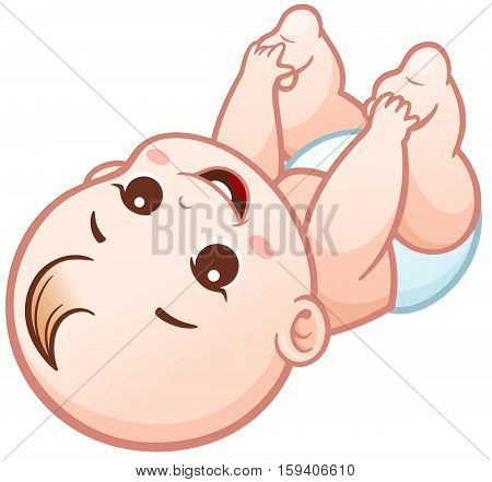 Vector Illustration of Cartoon Cute Baby. Happy character