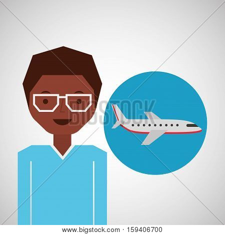 afroamerican man traveler airplane vector illustration eps 10
