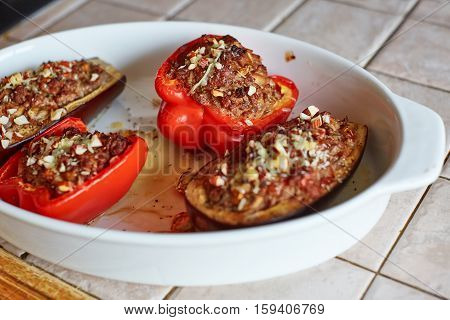 Stuffed Aubergines And Peppers