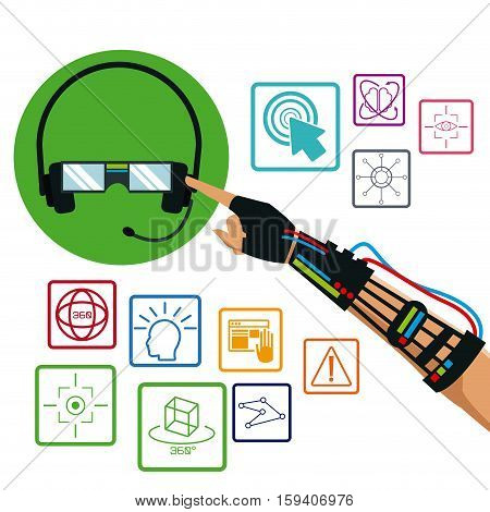 hand using wired glove headset vr technology items vector illustration eps 10