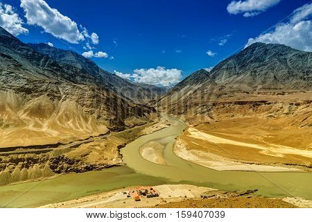 Scenic view of Confluence of Zanskar and Indus rivers - Leh Ladakh Jammu and Kashmir India.