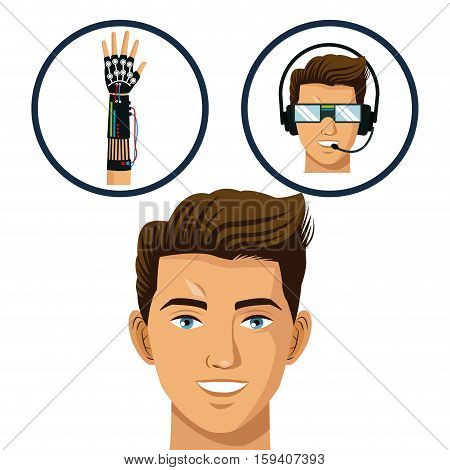 head gamer think glasses and wired glove virtual technology vctor illustration eps 10