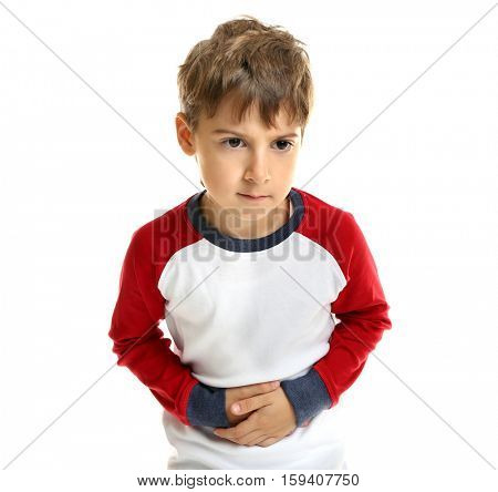 Little boy suffering from stomach ache, isolated on white