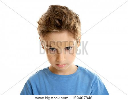 Cute little boy with plaster applied onto forehead, on white background