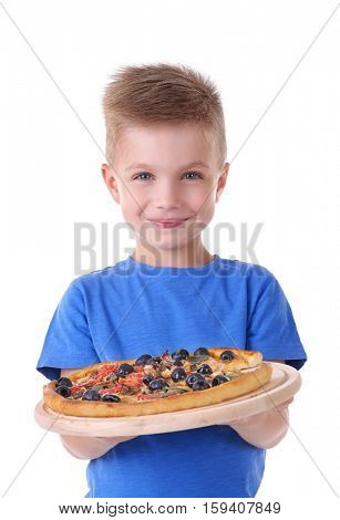 Cute boy with hot pizza, isolated on white