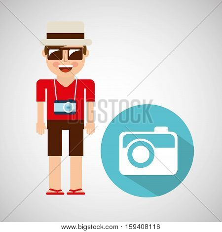 tourist man with camera photographic vector illustration eps 10
