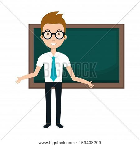 young man teacher character with greenboard vector illustration design