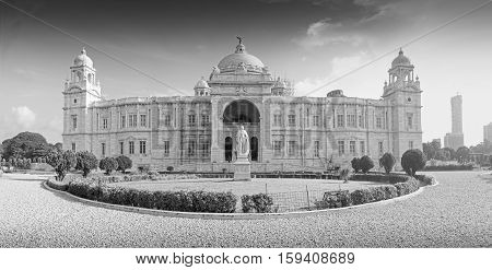 Beautiful panoramic image of Victoria Memorial Kolkata Calcutta West Bengal India . A Historical Monument of Indian Architecture. Built to commemorate Queen Victoria's 25 years reign in India. Black and white image