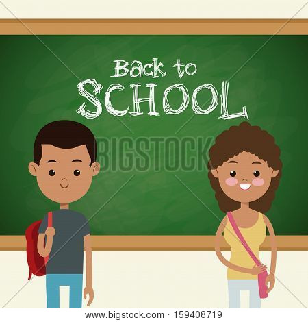 back to school multicultural students classroom board vector illustration eps 10