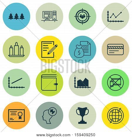 Set Of 16 Universal Editable Icons. Can Be Used For Web, Mobile And App Design. Includes Icons Such As Computer, Wallet, Tournament And More.