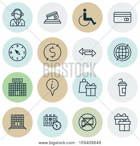 Set Of Traveling Icons On Appointment, Money Trasnfer And Operator Topics. Editable Vector Illustration. Includes Direction, Appointment, Dollar And More Vector Icons.