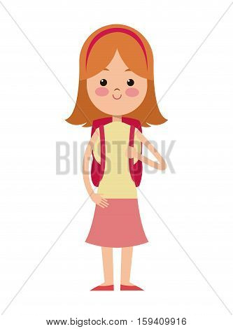 back to school cartoon girl blonde red diadem bag vector illustration eps 10