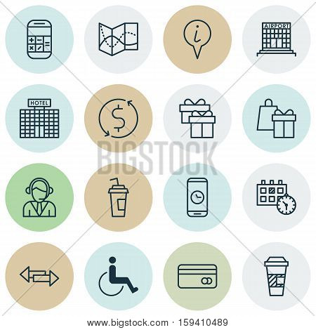 Set Of Airport Icons On Money Trasnfer, Calculation And Operator Topics. Editable Vector Illustration. Includes Paralyzed, Drink, Shopping And More Vector Icons.