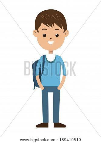 back to school boy brunet blue sweater bag vector illustration eps 10