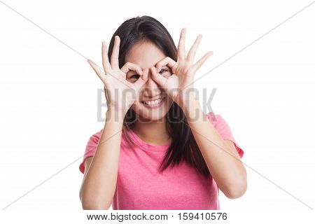 Asian Woman Do Funny  Double Ok Sign As Glasses