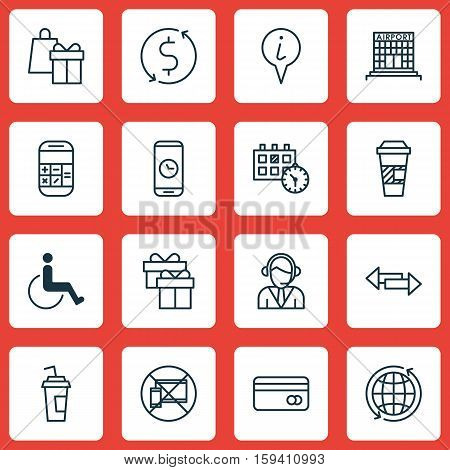 Set Of Travel Icons On Appointment, Airport Construction And Takeaway Coffee Topics. Editable Vector Illustration. Includes Cup, Paralyzed, Box And More Vector Icons.