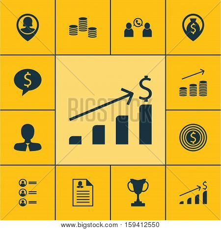 Set Of Hr Icons On Successful Investment, Tournament And Manager Topics. Editable Vector Illustration. Includes User, Cash, Phone And More Vector Icons.