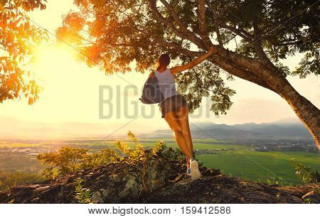 Young woman with backpack standing on the edge of a cliff holding on to a tree looking at the sunny valley