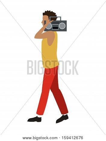 young man walk music radio player vector illustration eps 10